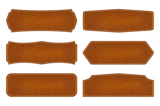 Lot de 6 étiquettes en cuir
