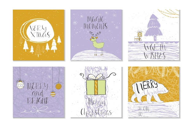 Lot de 6 jolies cartes-cadeaux de noël avec citation joyeux noël
