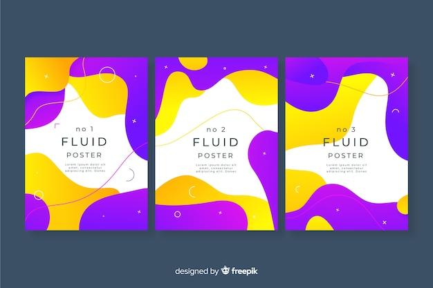 Lot d'affiches de formes fluides