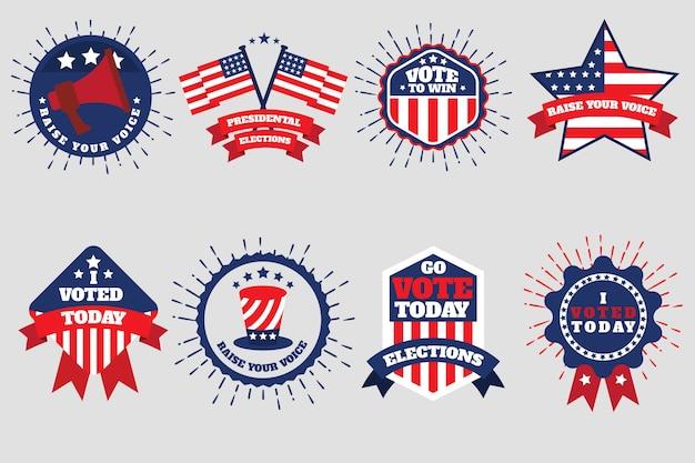 Lot de badges et autocollants de vote