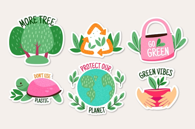 Lot de badges écologiques