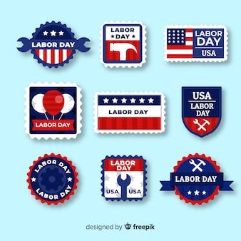 Lot de badges plats de la fête du travail
