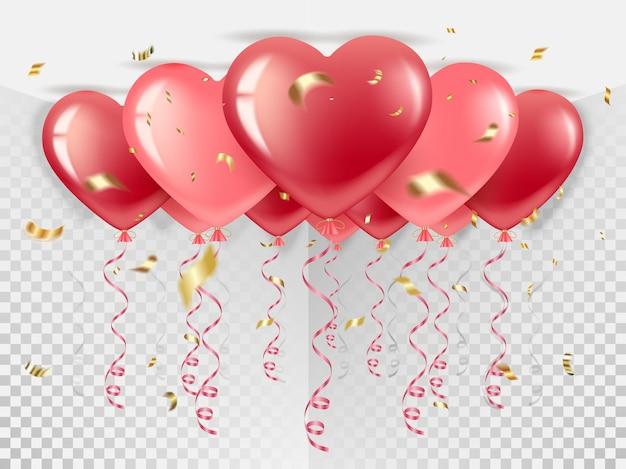 Lot de ballons en forme de coeur rouge et rose. voler vers le haut, avec des confettis dorés et de la serpentine. pour la saint valentin