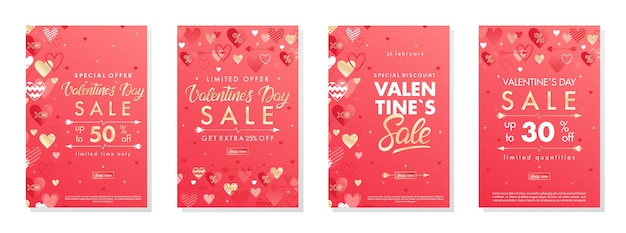 Lot de bannières d'offres spéciales saint valentin avec coeurs et éléments dorés