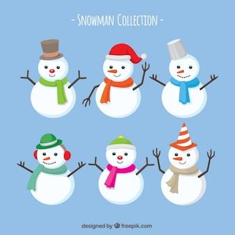 Lot de bonhommes de neige avec écharpe et chapeaux
