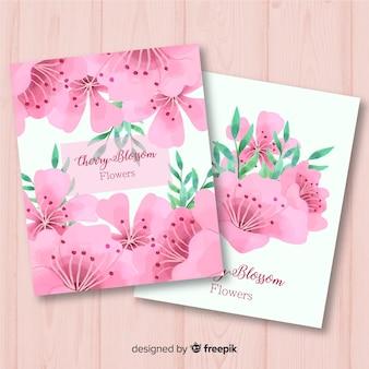 Lot de cartes aquarelle fleurs de cerisier