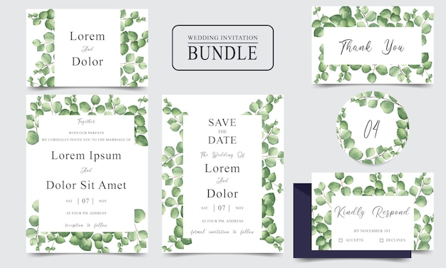 Lot de cartes d'invitation de mariage élégant avec des feuilles de verdure aquarelle