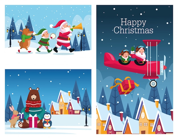 Lot de cartes de joyeux noël vector illustration design