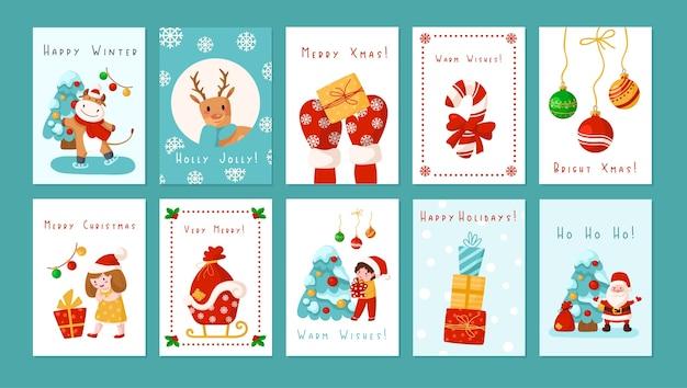 Lot de cartes de voeux de noël nouvel an - dessin animé enfants, père noël, cerf, arbre, bonhomme de neige, boîte-cadeau