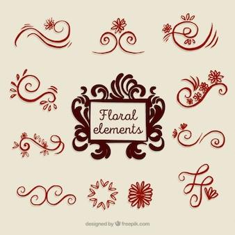 Lot de décorations florales dessinées à la main