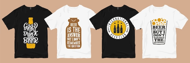 Lot de designs de t-shirts. bière t shirt design slogans marchandise