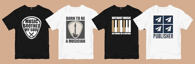 Lot de designs de t-shirts. musique t-shirt conçoit des slogans citations bundles