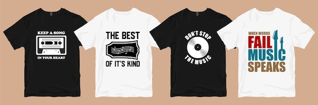 Lot de designs de t-shirts. musique t-shirt conçoit des slogans citations