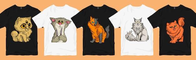 Lot de dessins animés de chats effrayants, lot de designs de t-shirts à la mode