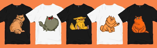 Lot de dessins de t-shirts, lot de dessins animés de chats drôles et effrayants