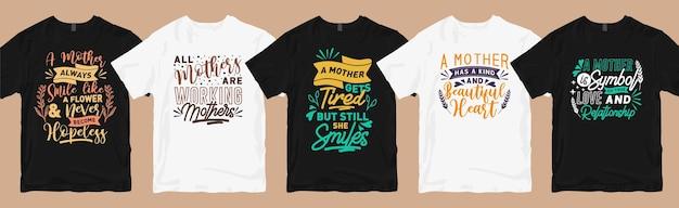 Lot de dessins de t-shirts de maman, collection de t-shirts graphiques de typographie de citations de maman