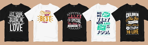 Lot de dessins de t-shirts pour maman, collection de t-shirts graphiques avec lettres de citations de maman