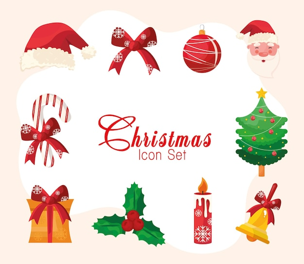 Lot de dix icônes et lettrage joyeux joyeux noël