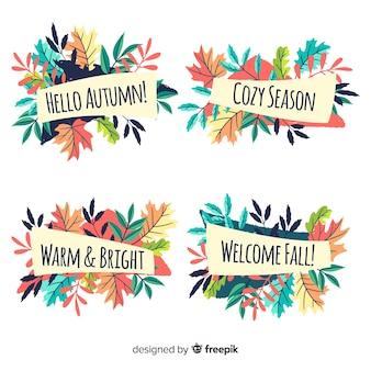 Lot d'étiquettes d'automne dessinés à la main
