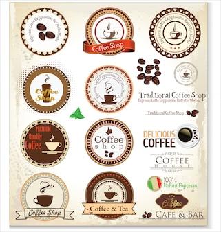 Lot d'étiquettes de café rétro vintage