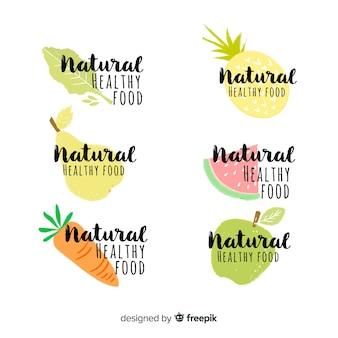 Lot d'étiquettes calligraphiques d'aliments frais