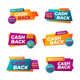 Lot d'étiquettes de cashback colorées