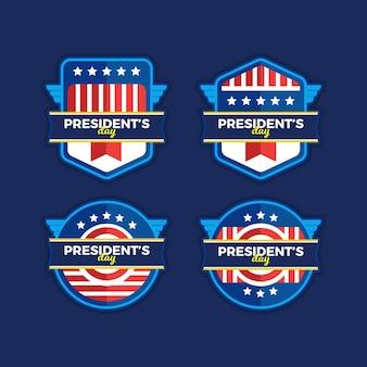 Lot d'étiquettes du jour du président