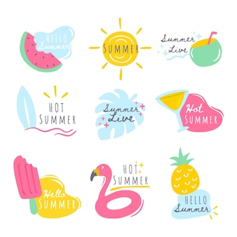 Lot d'étiquettes d'été
