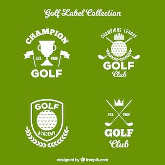 Lot d'étiquettes de golf dans un style plat