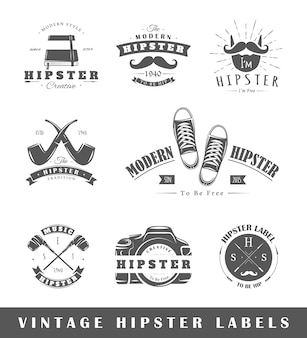 Lot d'étiquettes hipster vintage