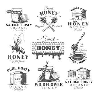 Lot d'étiquettes de miel vintage