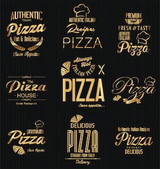 Lot d'étiquettes de pizza