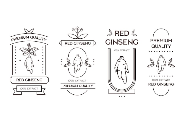 Lot d'étiquettes de pot de ginseng