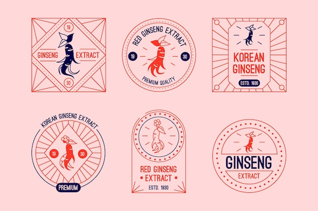 Lot d'étiquettes en pot de ginseng