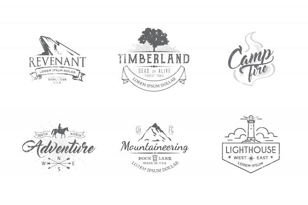 Lot d'étiquettes premium sur les thèmes de la faune, la nature, la chasse, les voyages, la nature sauvage, l'escalade, le camping, la vie à la montagne,