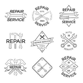 Lot d'étiquettes de réparation et de service auto isolés sur blanc