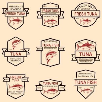 Lot d'étiquettes de thon. élément de design pour logo, étiquette, emblème, signe.