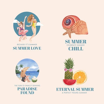 Lot d'étiquettes avec des vibrations estivales