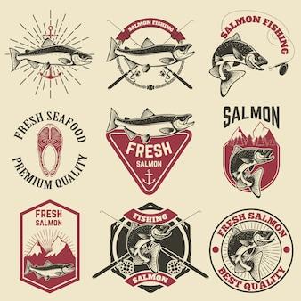 Lot d'étiquettes vintage avec poisson saumon. pêche au saumon, viande de saumon.