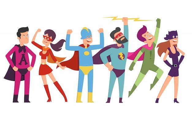 Lot d'hommes et de femmes avec des super pouvoirs