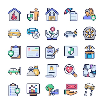 Lot d'icônes d'assurance
