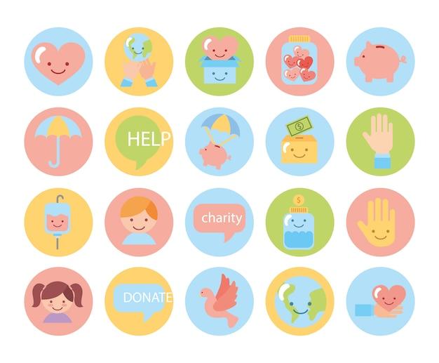 Lot d'icônes de campagne de charité