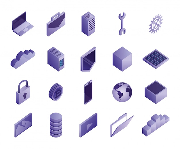 Lot d'icônes de centre de données