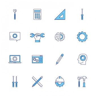 Lot d'icônes de jeu d'ingénierie