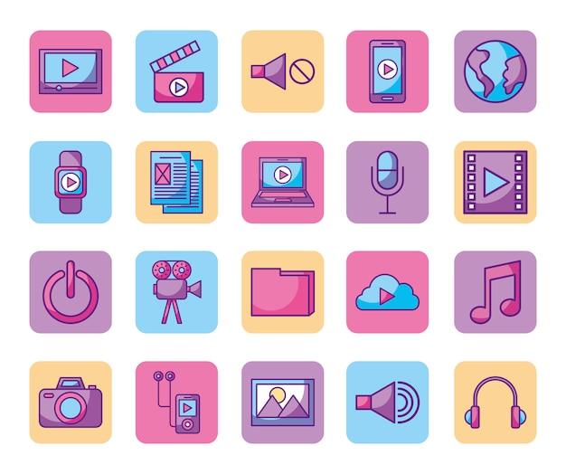 Lot d'icônes de lecteur multimédia