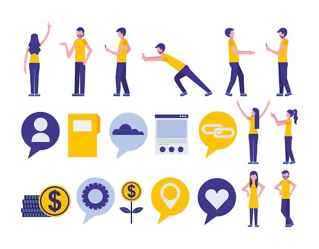 Lot d'icônes de marketing de médias communautaires et sociaux
