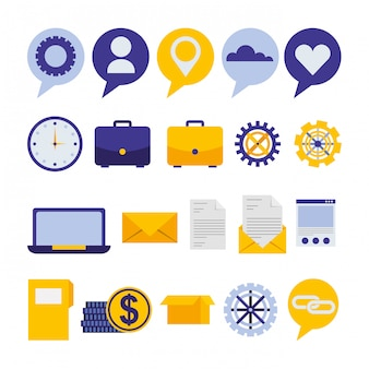 Lot d'icônes de marketing des médias sociaux