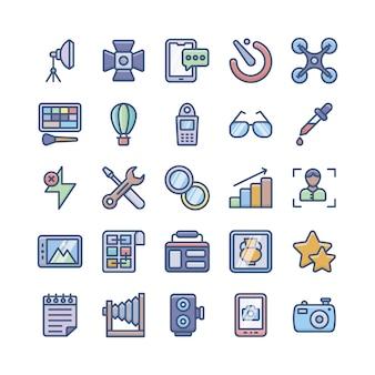 Lot d'icônes de photographie numérique