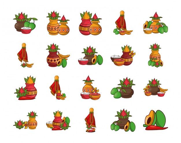 Lot de légumes et accessoires de diwali