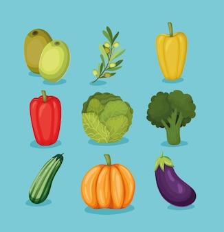Lot de légumes sains et frais